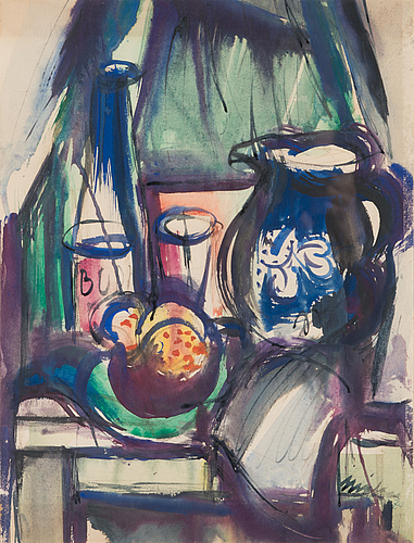 Nandor mikola, watercolour, signed and dated -70.