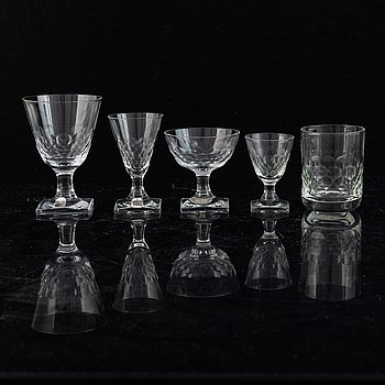 Elis Bergh, A glass service 'Fiskfjäll', 59 pcs, Kosta Boda.