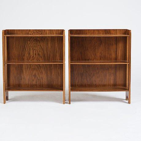 Josef frank, a pair of mahogany wall shelves, model 2127, svenskt tenn sweden, probably 1950's.
