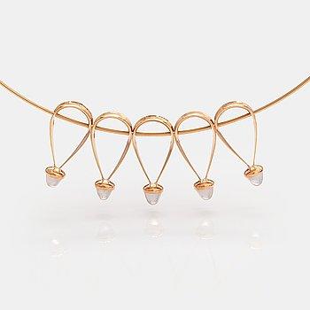 Elis Kauppi, A 14K gold necklace with rose quartzes. Kupittaan kulta, Turku.