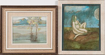 Pertti Kolehmainen, oil on panel, 2 pieces, signed and dated -80 and -74.