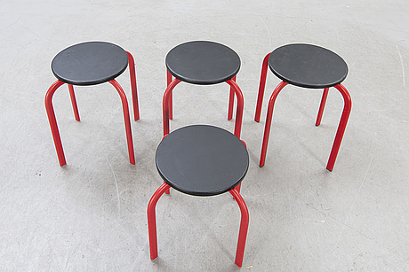 A set of four stools from sis denmark later part of the 20th century.