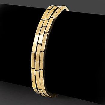 Bracelet, 18K gold, 3 rows, 37,2 g, approx 19 x 1 cm.