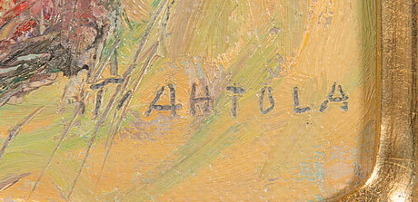 Taisto ahtola, olja på pannå, signerad.