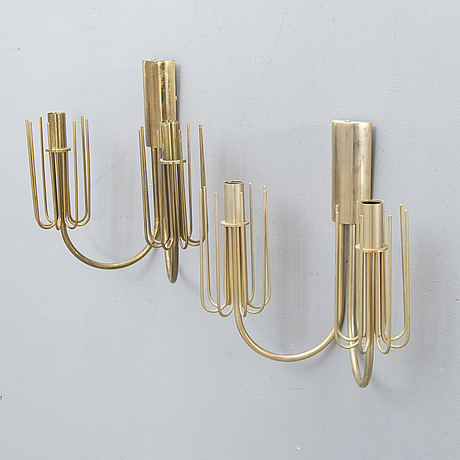Wall lamps, a pair, 1960s, brass.