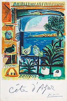 Pablo Picasso, after, a lithographic poster. Printed by Mourlot.