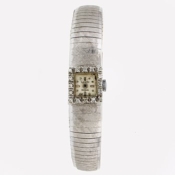 Wristwatch Lanco Interloc, 18K whitegold, single-cut diamonds, 19 mm, manual, length approx 18 cm.