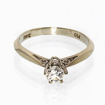 Ring 18K whitegold 1 brilliant-cut diamond approx 0,30 ct.