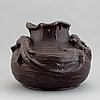 Höganäs, an art nouveau glazed ceramic vase, early 20th century. decor with  lizards.