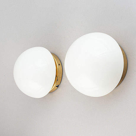 """Klaus michalik, a pair of glass and brass wall lights """"bau"""" for orno, finland, 20th century."""