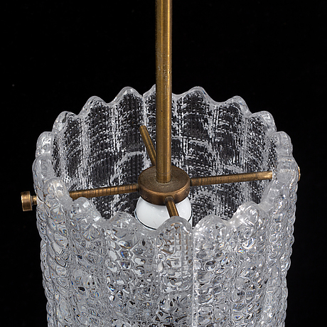 Carl fagerlund, taklampor, ett par, glas och mässing, orrefors, 1900-tal.