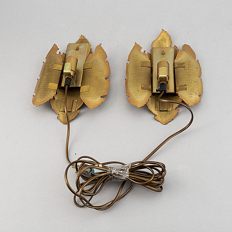 A set of two brass wall lights, design sven aage holm sörensen.
