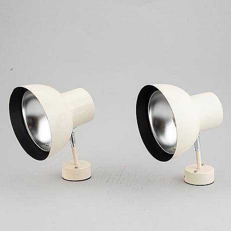 Hans-agne jakobsson, a pair of wall lights, markaryd, sweden, mid 20th century.