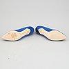 Manolo blahnik, a pair of royal blue satin 'hangisi' shoes, 2020, size 41.