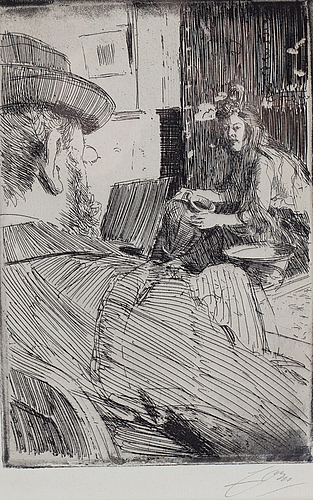 Anders zorn, etching, 1896, signed in pencil.