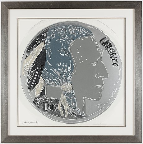 """Andy warhol, """"indian head nickel"""", from: """"cowboys & indians""""."""