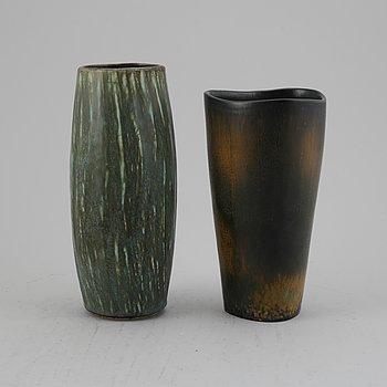 Gunnar Nylund, earthenware vases, Rörstrand, Sweden, mid 20th century.