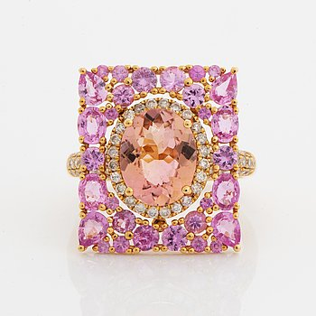 Pink tourmaline, pink sapphire and diamond cocktail ring.