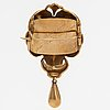 An 18k gold brooch with a pearl. swedish hallmarks, late 19th century.