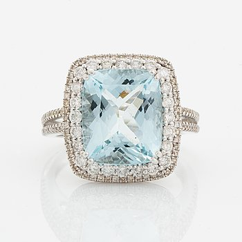 Aquamarine and diamond cocktail ring.
