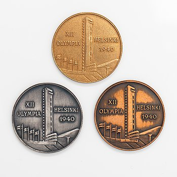 Commemorative medallions, 3 pcs, Summer Olympics in Helsinki 1940.