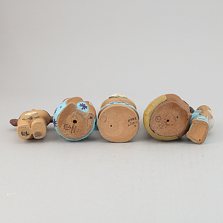 Lisa larson, a set of five stoneware figurines from gustavsberg.