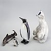Figurines, 4 pcs, denmark, royal copenhagen polar bear, other b&g.