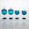Nanny still, a 14-piece set of 1960s 'harlekiini' glass tableware, riihimäen lasi, finland.