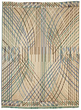 """210. Barbro Nilsson, a drape, """"Kärvar"""", tapestry variant, ca 239-240 x 176,5-177,5 cm, signed AB MMF BN."""