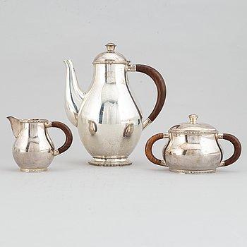 Kaffeservis, 3 delar, silver, Nordisk Silverkonst, Hällefors, 1948.