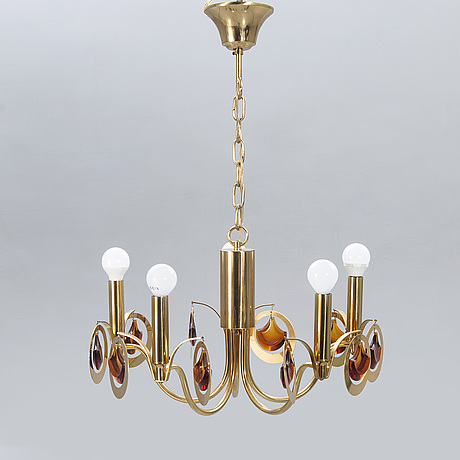 Eriksmåla, ceiling lamp, brass, glass, 1960s-70s.