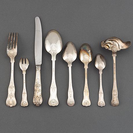 A part silver cutlery service, modell 'engelsk snäck' (55 pieces).