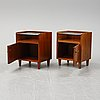 A pair of mahogany bedside tables, mid 20th century.