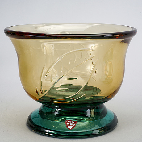 Gunnar cyrén, bowls / vase, 3 pcs, orrefors, signed.