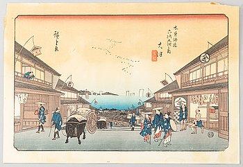 Utagawa Hiroshige, efter, färgträsnitt. Japan, 1900-tal.