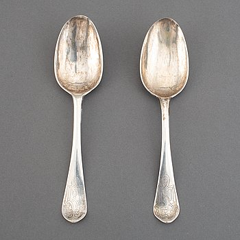 A matched pair of Swedish 18th century silver spoons, marked Uppsala.