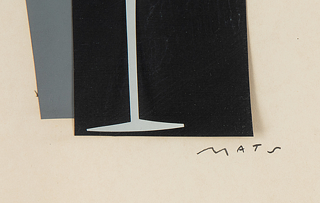 Mats gustafson, collage, signed.