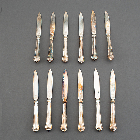 A set of 24 (12+12) fruit-cutlery, marked t.e., stockholm 1927.