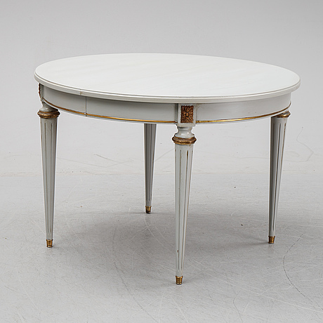 A gustavian style dining table, second half of the 20th century. two leaves included.