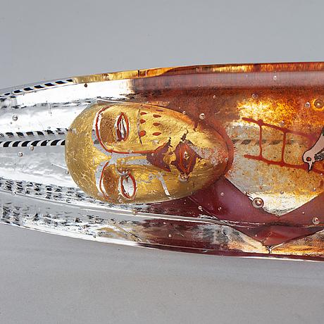 Bertil vallien, skulptur, glas, signerad b. vallien 7531891 kosta boda unique.
