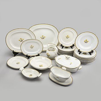 """Wilhelm Kåge, a approx 30 pcs of dinner service """"Tussilago"""" for Gustavsberg stoneware mid 1900s."""