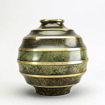 Vas Art Deco 1930-tal Svenska Metallverken patinerad brons.