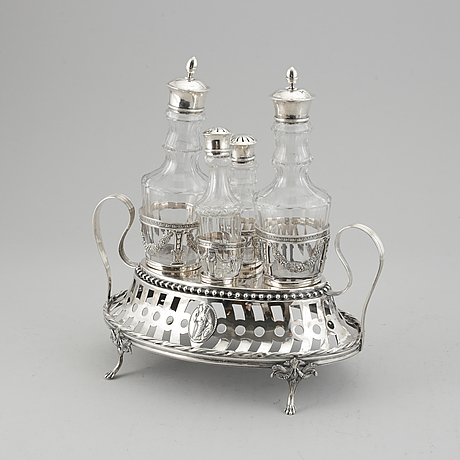 Mikael nyberg, bordssurtout, silver, sengustaviansk, stockholm 1796.