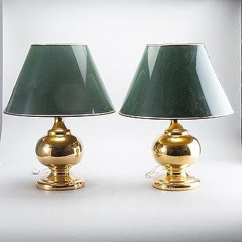 Table lamps, a pair, Miranda 1960s-70s.