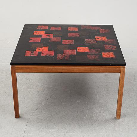 "David rosén/algot törneman, soffbord ""579-112"", bordsskiva ""röd kvadrat"". ab seffle möbelfrabrik."