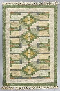 A Swedish flatweave carpet signed IR (?) ca 194 x 139 cm.