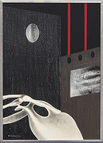 Uno svensson, akryl/collage på pannå, signerad, -70.