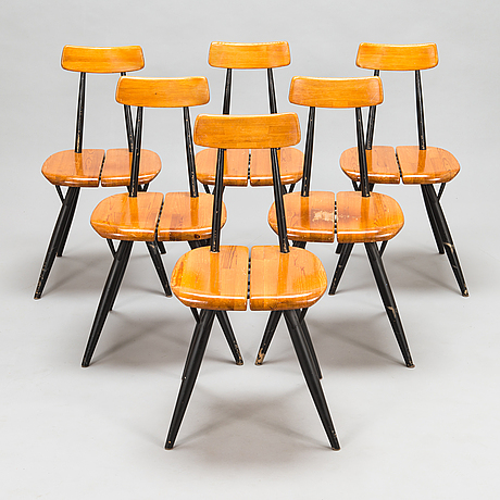 Ilmari tapiovaara,  a set of six 1960's 'pirkka' chairs, for laukaan puu.