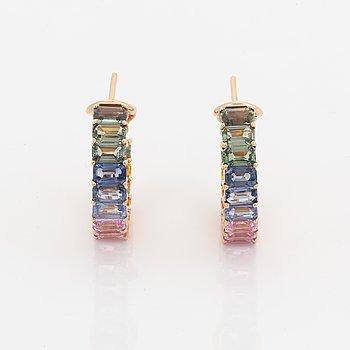Emerald-cut multicoloured sapphire earrings.