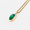 Cabochon-cut emerald necklace, with gia certificate.